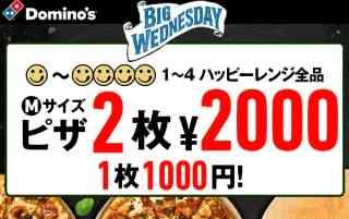 ピザMサイズ2枚 2000円