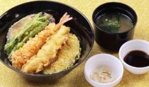 江戸前風海老天丼 味噌汁 漬物付き