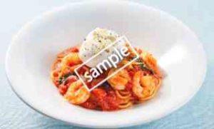 イタリア産ブラータと海老のトマトスパゲッティ