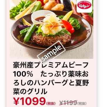 たっぷり薬味おろしのハンバーグと夏野菜のグリル1099円