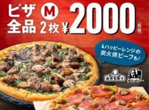 ドミノお試しウィーク!Mピザ全品2枚 2000円