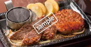 熟成カットステーキ約80g & ミニハンバーグ サラダバー食べ放題付き
