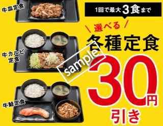 各種定食 30円引き(LINE@)