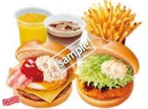 ペアセットE チーズベーコンエッグバーガー+タルタル海老サンド+ポテトL+ドリンク2個
