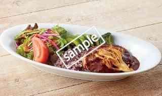 彩り野菜と黒米ごはんのデミハンバーグプレート