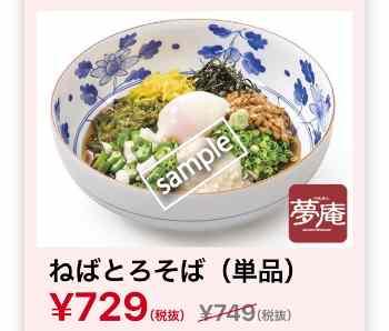 ねばとろそば 729円