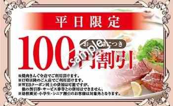 平日限定100円割り引き(WEBクーポン)