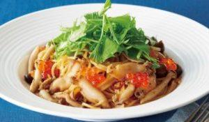 蝦夷鮑と水菜の和風スパゲッティ