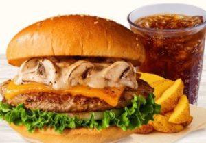 マッシュルームチーズバーガー+ポテトR+ドリンク