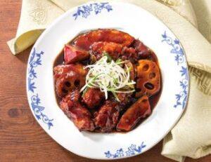 根菜と黒酢の酢豚