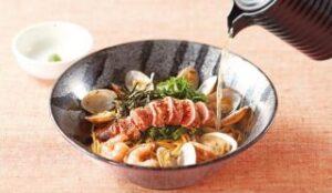 炙りタラコとアサリの和風スパゲッティ