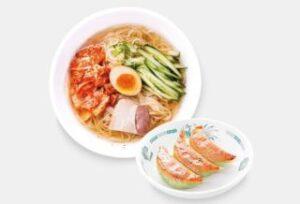 冷麺+バジル餃子3個