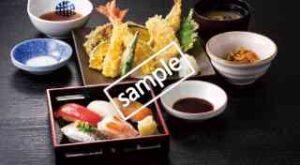 寿司五貫握りと上天ぷら御膳
