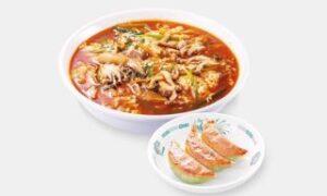 酸辣きのこ湯麵+バジル餃子3個