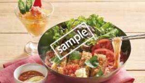盛岡冷麺 サルサチキンのトマトスープ+紅ずわい蟹のコンソメジュレ