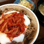 キムチ山かけ牛丼